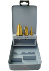 3 tube sheet metal drills tin coated box