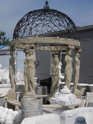 statued carved sandstone gazebo summerhouse marble