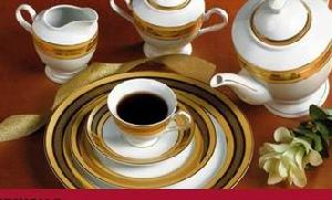 porcelain dinner gold silvier