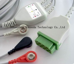 ecg cable 3 leads ge hp medical mindray csi bci
