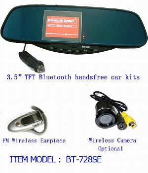 3 5 tft lcd bluetooth handsfree car mirror rear view camera wireless fm headset bt 728