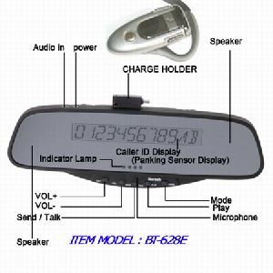 led display car bluetooth handsfree mirror kit wireless fm headset bt 628e
