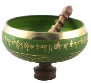 tibetan buddhist singing bowl green eight inches