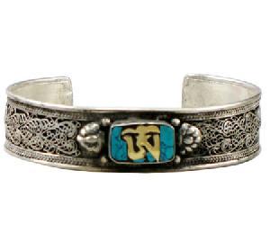 turquoise om tibetan silver bracelet