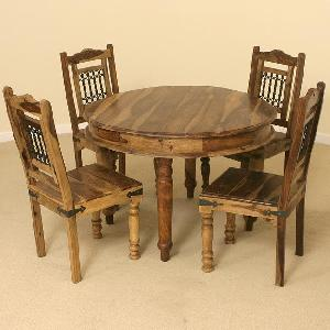 indian wooden round dining four chair manufacturer exporter wholesaler india