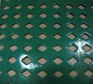 green plastic coated expanded metal plate
