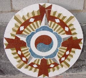 granite marble pattern medallion inlay