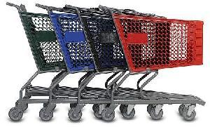 iron frame plastic basket supermarket trolleys qingdao yongchang