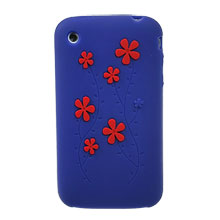replacement flower silicone skin case cover apple iphone 3gs 3g dark blue