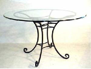round glass wrought iron base table manufacturer exporter wholesaler india