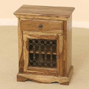 sheesham wood 1 door drawer bedside cabinet manufacturer exporter wholesaler india