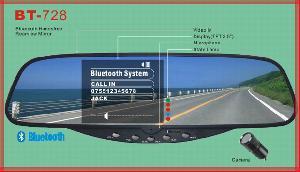 bluetooth car kit built 3 5 tft rear view mirror display bt 728