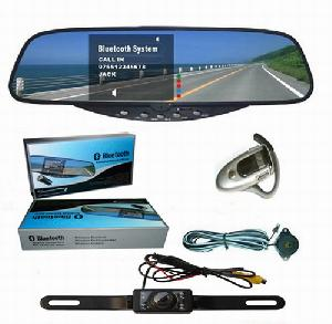 hands bluetooth 3 5 tft rear view mirror car kit wirth wireless fm headset reverse cam