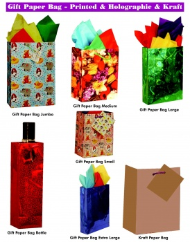 Gift Paper Bags, Printed , Holographic Or Kraft