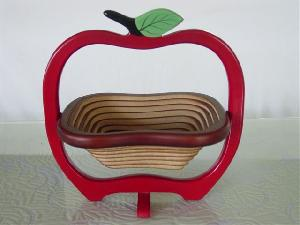 wooden basket apple shape