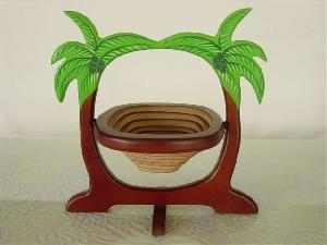 wooden basket coconut shape