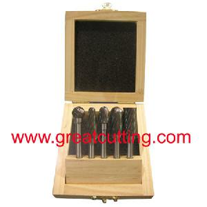 5 solid carbide burrs wooden box rotary files