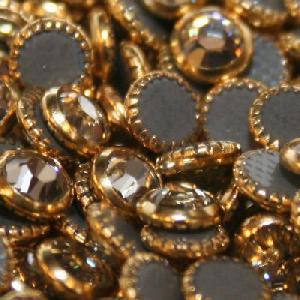 hotfix rim rhinestone rimmed metal rhinestones jet crystal