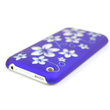 hard plastic case transparent flower pattern apple iphone 3gs 3g indigo