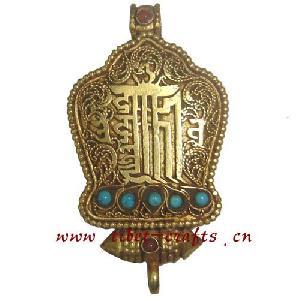 gold buddhist om prayer box