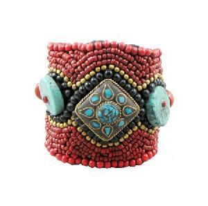 tibetan coral turquoise bracelet