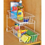 undershelf wire baskets sliding drawer mesh cabinet