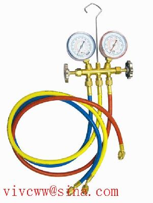 testing manifold valve brass fittings charging hose hvac tools refrigeration