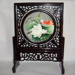 sided silk embroidery lotus dragonfly table screen home decor