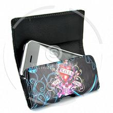 wallet magnetic flip tattoo pattern convex edge soft leather case iphone 3gs 3g
