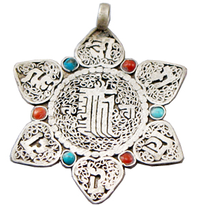 tibetan silver om mani padme hum star mantra pendant