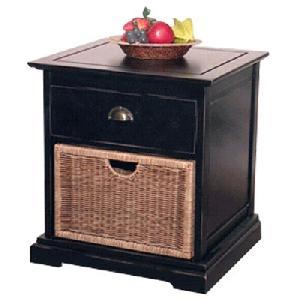 bedside mahogany rattan drawer
