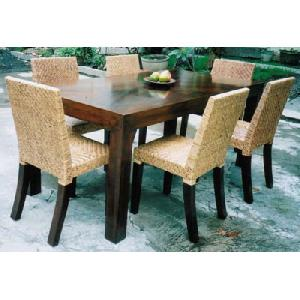 rattan skin dining solid mahogany table