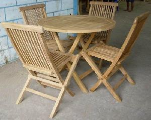 round folding table chair teak