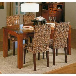 woven furniture banana abaca leaf dining mahogany table