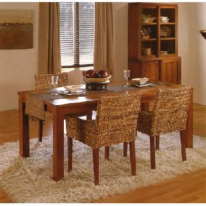 woven furniture dining banana abaca leaf combined solid mahogany table
