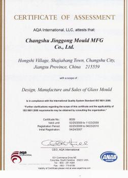 jg glass mould manufacturer granted certification iso9001 2000