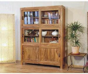 Bali Book Case Cabinet With Sliding Doors Mahogany And Teak Indoor Furniture  Antique Style