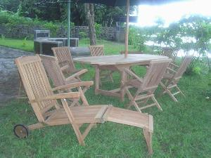 teak bali wheels decking steamer chair indonesia hotel garden beach furniture
