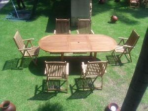 Teak Garden Set, Dorset Reclining Chair And Oval Extension Table 100 X  180 240
