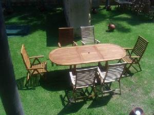teak outdoor furniture curve reclining chair oval extension table indonesia