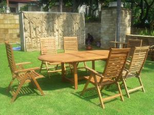 teak oval extension table curve horisontal slats dorset reclining 5 position chair outdoor furniture
