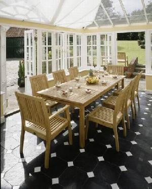 teak rectangular table stacking chair outdoor indoor furniture