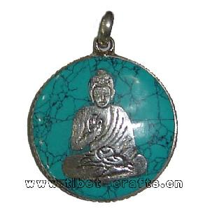 sterling silver turquoise buddha pendant