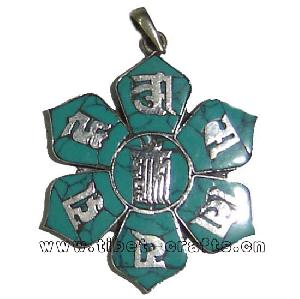 sterling silver turquoise tibetan letters pendant