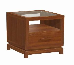 y 032 square table 50 cm glass 2 drawers mahogany teak furniture