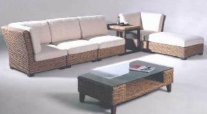 sofa corner banana leaf woven rattan furniture home hotel java indonesia