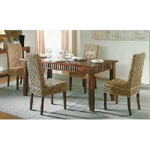 solo water hyacinth dining chair mahogany table
