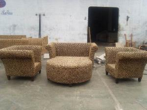 Beau Water Hyacinth Twist Sofa Armchair Coffee Table Woven Rattan Furniture
