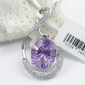 925 silver amethyst pendant sterling gemstone jewelry