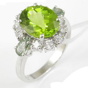 Sell 925 Silver Natural Olivine Ring Item Y8782r